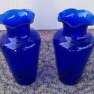 2 Cobalt Blue glass vases antique vintage