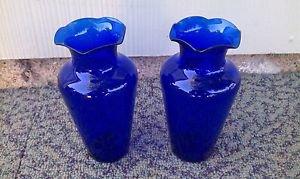 2 Cobalt Blue glass vases antique vintage