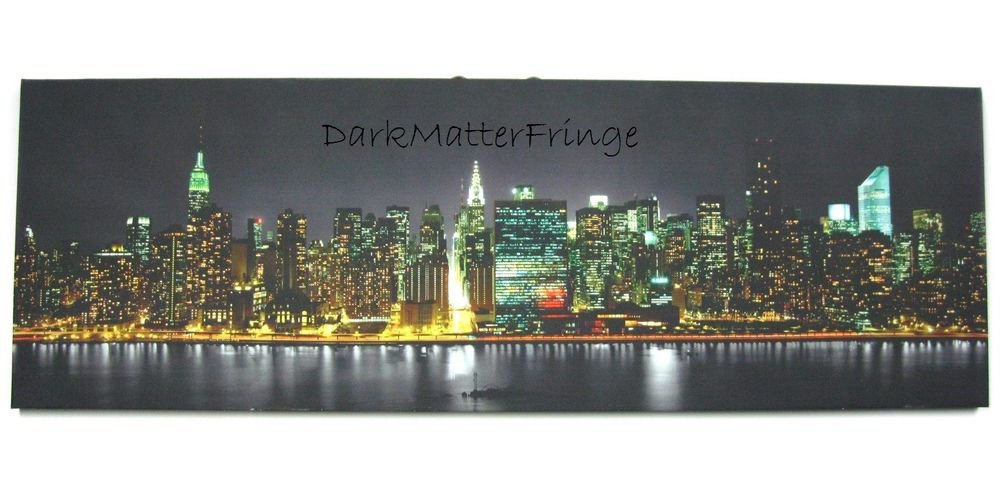 New York NYC Panoramic Skyline Cityscape Night Time Print on Canvas Art 30X10