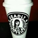 Nightmare Before Christmas Skellington Coffee plastic Travel Mug - Sally B and W
