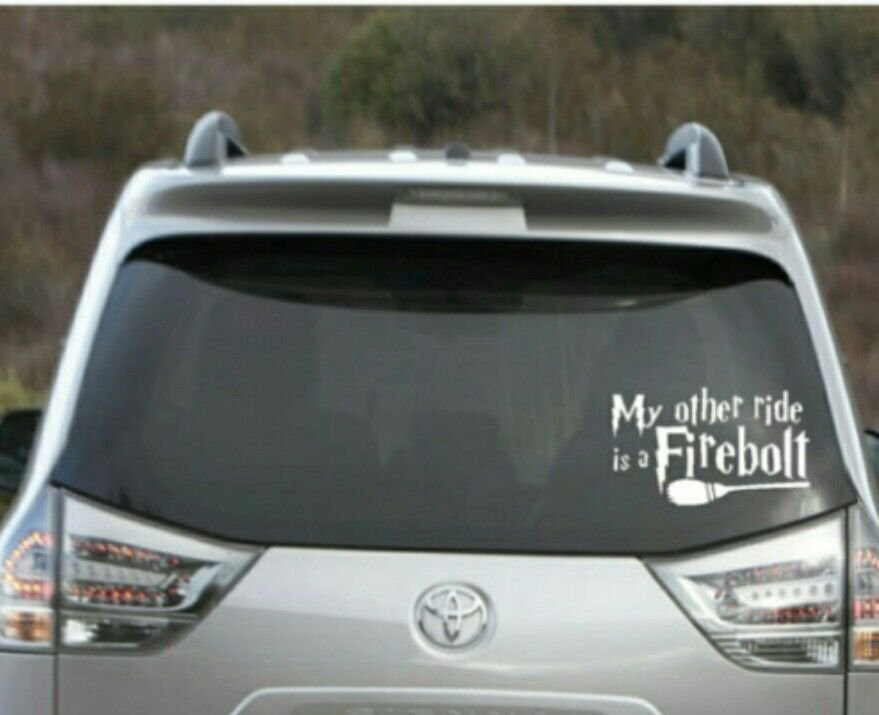 """Harry Potter - My other ride is a firebolt car decal - 3"""" tall x 6"""" wide"""