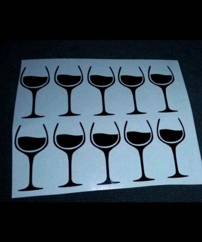 Set of 12 - Custom Easy to Apply Tan Decals/ Stickers - Wine Glass -Tan shape