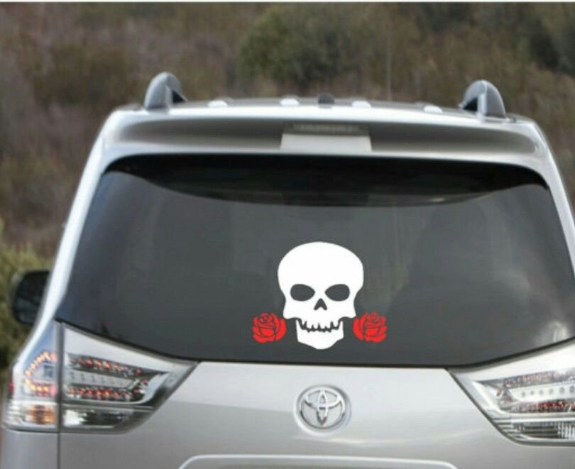 """Skull with red roses decal - skull decal - skull sticker 4"""" x 4"""""""