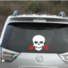 "Skull with red roses decal - skull decal - skull sticker 4"" x 4"""