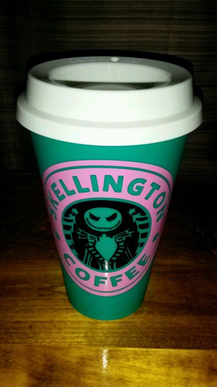 Nightmare Before Christmas Jack Skellington Coffee Travel - teal, pink black