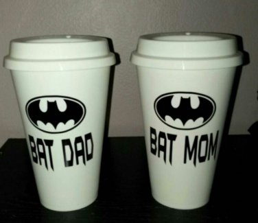 Bat Mom and Bat Dad Coffee - Batman Coffee Travel Plastic Reusable Travel Mug