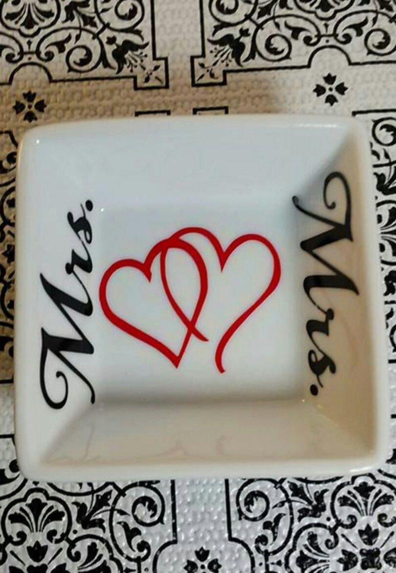 Mrs and Mrs wedding gift ring dish - ring dish - trinket