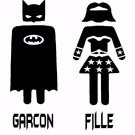 Batman and Bat woman bathroom door decal - Garcon and Fille bath room decal