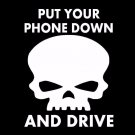 "Get off your phone and drive skull decal - White - 6"" x 4"""
