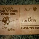 Star Wars Yoda One For Me - Laser Engraved Wooden Postcards