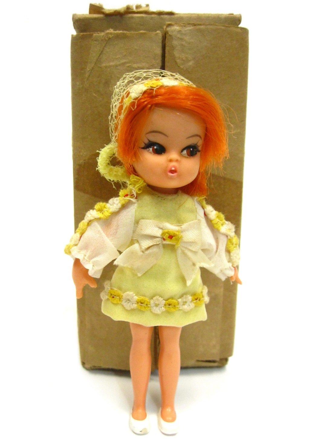 Vintage 1960's Hasbro Dolly Darlings Honey Doll Liddle Kiddles w/Rare Mailer Box