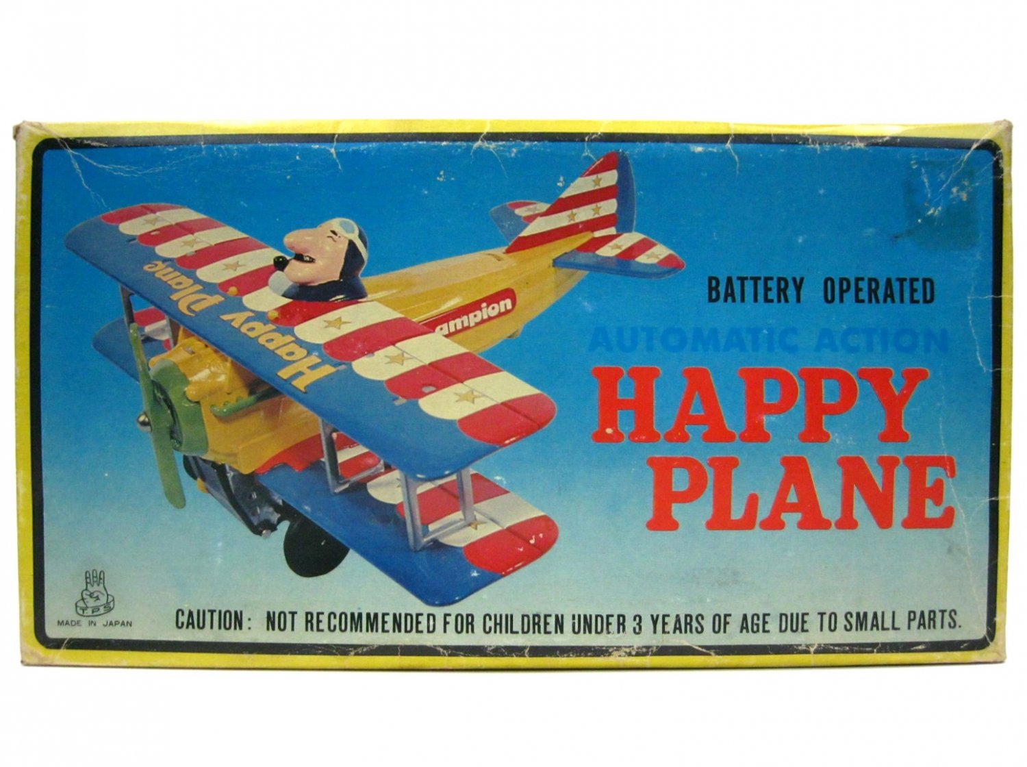 Vintage TPS Japan Happy Plane Battery Operated B/O Tin Litho Mint w/Box & Insert Works