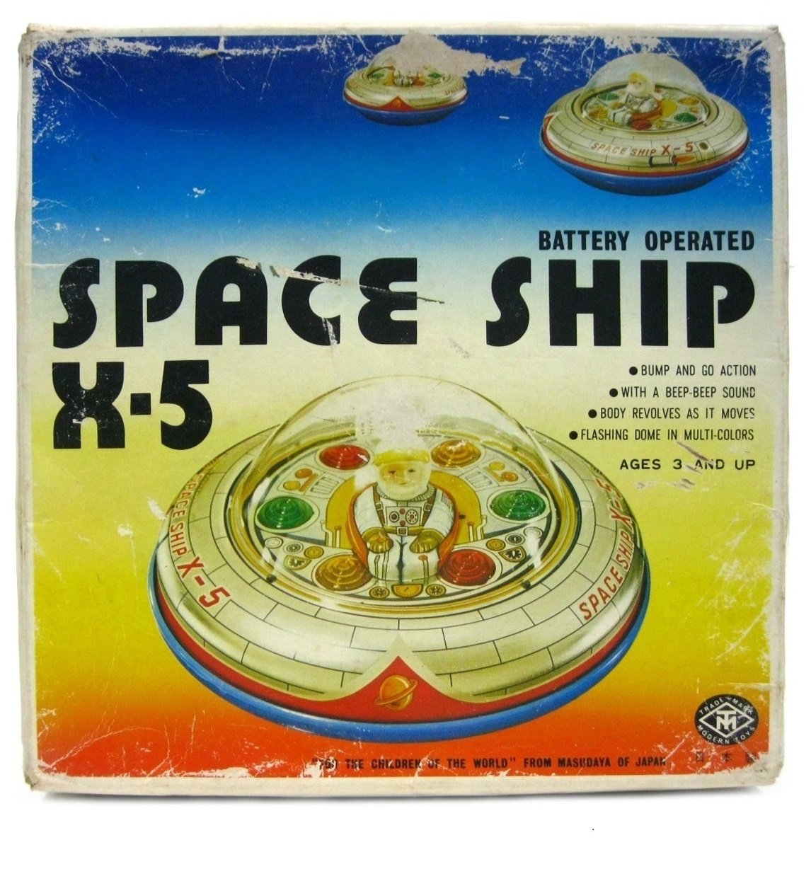 Vintage Modern Toys Masudaya Japan Space Ship X-5 Battery Operated w/Box Works
