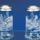 Etched Glass German Beer Stein EAGLE  w/ Pewter Eagle Head Lid Glass Beer Mug
