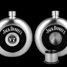 LICENSED JACK DANIEL'S CIRCULAR FLASK W/ REMOVABLE SHOT GIFT SET