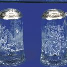 German Beer Stein WOLF w/ Pewter Wolf Head Lid Etched Glass Beer Glass Wolf Mug