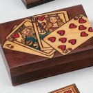 PLAYING CARD BOX  Royal Flush Design, Handmade  Linden Wood Keepsake, Poland
