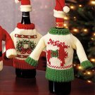 Christmas Party Table Decor Wine Knit Sweater Wine Bottle Cover Set of 2