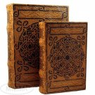 Celtic Knot Book Box Set of 2 Vintage Celtic Nesting Book Boxes Wood & Leather