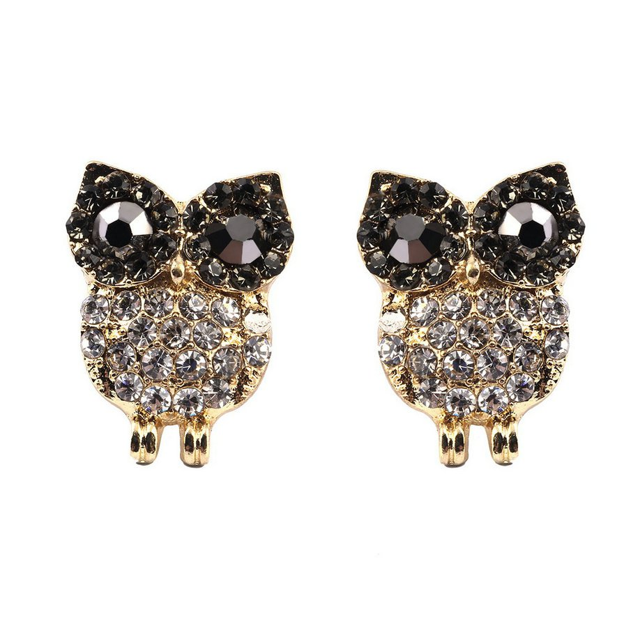 Fashion Lovely Girls Women's Dazzling White Crystal Gold Lovely Owl Earrings #E
