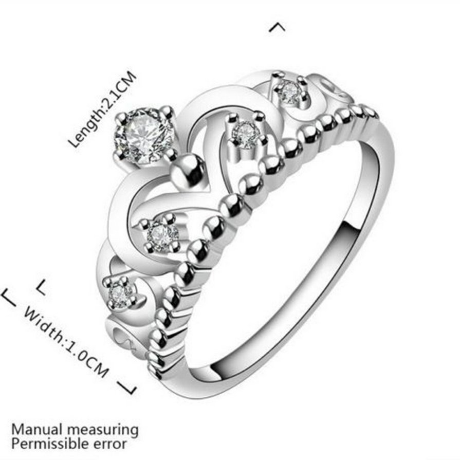 New Fashion Pretty Women Girl Crown Lady Crystal Finger Ring Jewelry H5