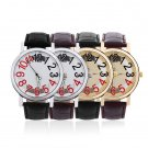 New Fashion Hot Casual Watch Leather Strap Numbers Wristwatch #W