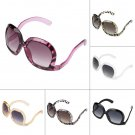 Women Retro Fashion Oversized Sunglasses Square Leg Bent Back Frame Eyeglasses H