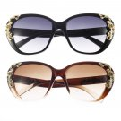 Gold Rose Flower Carving Women Fashion Cat Eye Vintage Sunglasses Glasses HS