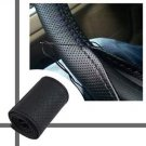 DIY Leather Car Auto Steering Wheel Cover With Needles and Thread Black  H9