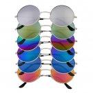 Unisex Women Men Mirror lens Round Glasses Steampunk Sunglasses Vintage Retro HS