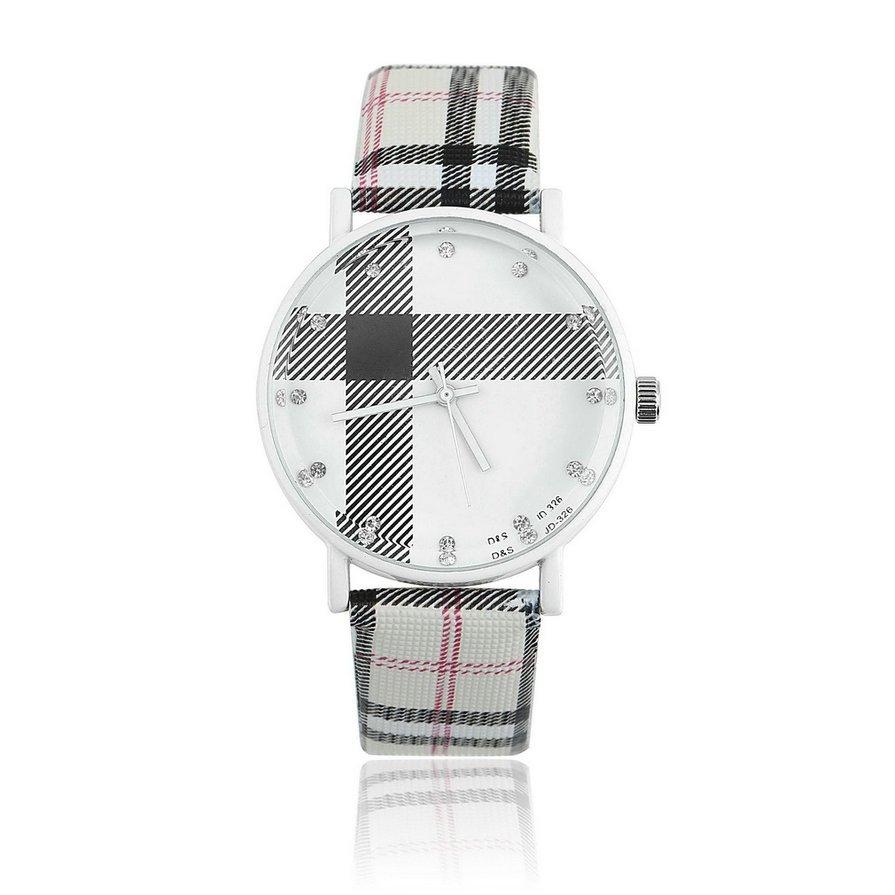 Fashion Plaid Leatheroid Watch Women Men's Sport Casual Quartz Wristwatch HS