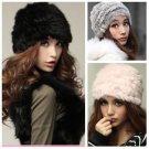 Fashion Russian Lady Rabbit Fur Knitted Cap  Women Winter Warm Beanie Hat #N
