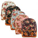Vintage Women Girl Canvas Flower Floral Bag Schoolbag Travel Backpack H2