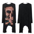 Punk Goth Women Long Sleeve Skull Print Long Casual Top T-Shirt Tee Blouse @*