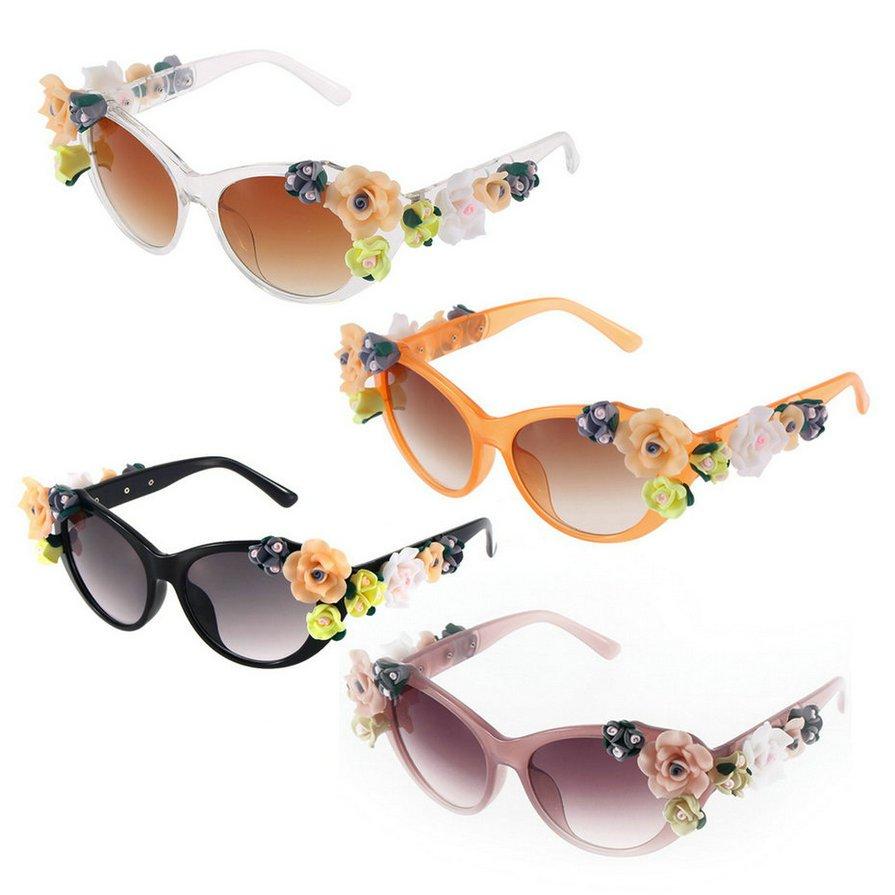 Chic Retro Handmade 3D Rose Floral Flower Decor Women Wayfare Sunglasses HS