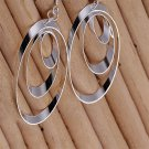 Women's Jewelry 925 Sterling silver SP vintage Three Discs Dangle Earrings b#
