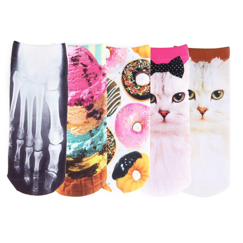 Men Women Multiple Colors 3D Printed Cute Unisex Cotton Cartoon Socks New HS