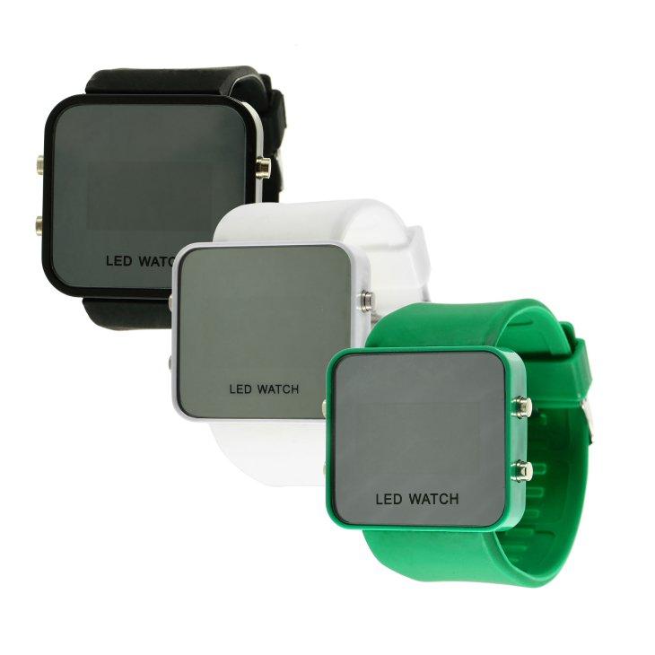 Multicolor Men women Mirror LED Silicone Band Digital Sport Wrist Watch HS