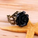 Vintage Jewelry Bronze Alloy Gothic Black Rhinestone Rose Rings For Women #D