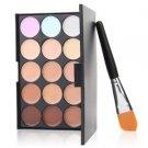 15 Colors Concealer Eyeshadow Contour Palette Brush Sponge Face Makeup Kit SetH5