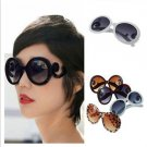 Womens Retro Inspired Baroque Round Sunglasses Sun Glasses with Swirl Arms H5