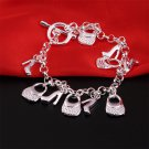Charm Jewelry Women's High-heeled Shoes Bag Plated Silver Chains Bracelet #*