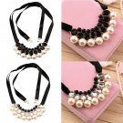 NEW Luxurious Exquisite Big Pearl Crystal Ribbon Girls Fashion Necklace HS