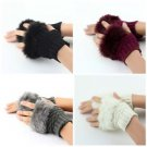 Fashion Winter Arm Warmer Fingerless Gloves Knitted Fur Trim Gloves Mitten HS