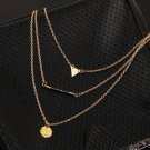 Fashion Women Personality Geometry Charms 3 Layers Chain Necklace @*