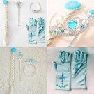 4Pcs Cosplay Crown Tiara Hair Accessory Crown Wig +Magic Wand For Elsa Anna HP