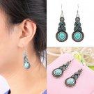 1 Pair Women Vintage Turquoise Crystal Bead Ear Hook Dangle Earrings Jewelry HS