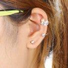 2 PCS Womens Lady Elegant Pearl Rhinestone Ear Clip Ear Stud Earrings Jewelry @*
