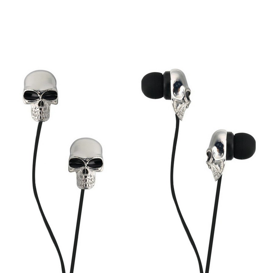 Cool Skull Heads 3.5mm Port Earphones Earbuds Headset For MP3 Phone iPads HH