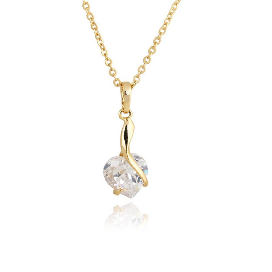 Women 18K Gold Crystal Gemstone Waterdrop Pendant Necklace Chain Gift Party H5